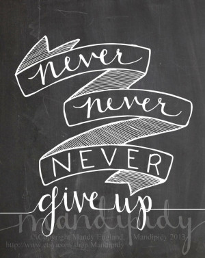 Never Give Up Winston Churchill Quote Vintage by Mandipidy