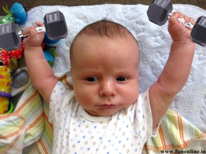 Funny Baby practicing Weight Lifting Wallpaper