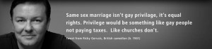 Same sex marriage isn't gay privilage, it's equal rights...
