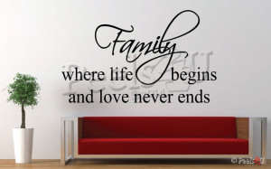 ... LIFE BEGINS & LOVE NEVER ENDS Inspirational Wall Quote Vinyl Decal