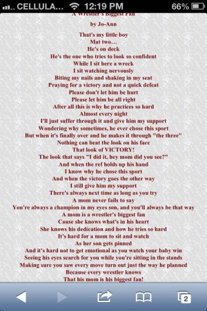 my favorite Wrestling Mom Quote! Because this poem is how a wrestling ...