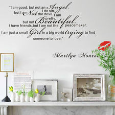 GOOD Small Girl Big World-Marilyn Monroe Quote Wall Sticker Art ...