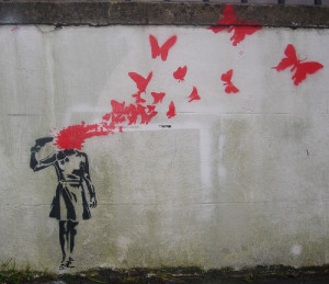 accordingtoliz:Butterfly Suicide @banksy #banksy