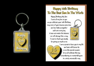 Details about 16TH HAPPY BIRTHDAY SON 16 TODAY CARD AND KEYRING GIFT