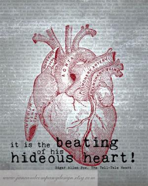 Edgar Allan Poe Art Quote HIDEOUS HEART by JaneAndCompanyDesign, $20 ...