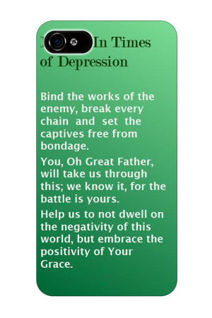 prayers in times of depression christian quote plastic hard green 5 5S ...