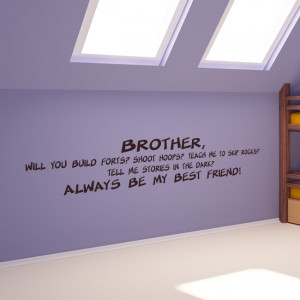 Brother My Best Friend Family Wall Quotes Wall Art Decal Transfers