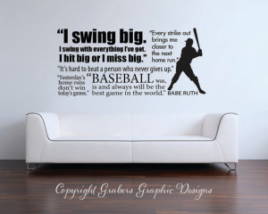 ... Babe Ruth quote collage Baseball Sports Subway Art Vinyl Wall Decal