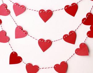 ... Banner, Valentine Photo Prop, Paper Heart Garland, Red Heart Garland