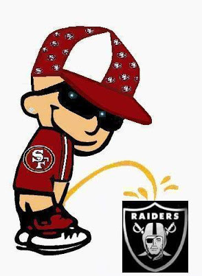 ... Calvin is peeing on the Raider's shield while wearing his 49er gear