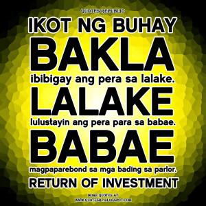 Ikot ng buhay Bakla Ibibigay ang pera sa lalake. Lalake Lulustayin ang ...