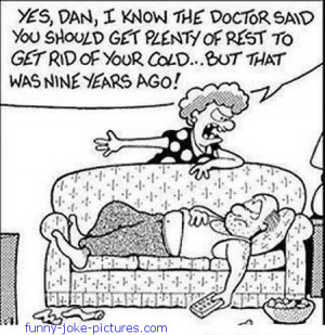 Funny Sick Husband Rest Cartoon Picture