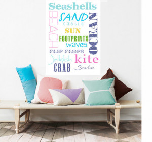 Beach Decor, Summer Sun Sand Typography, Cottage decor, Nautical ...