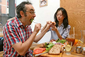 Gary Shteyngart, with girlfriend Mabel Hwang; photo by Melissa Hom ...