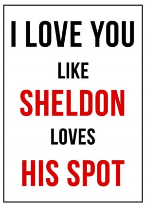 ... Love And Romance: I Love You Like Sheldon Loves His Spot Funny Quote