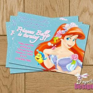 Printable Little Mermaid Ariel Personalized Birthday Invitations- D ...