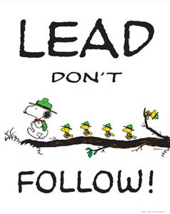 LEAD DON'T FOLLOW Snoopy & Woodstock Poster Print - Classic Peanuts ...