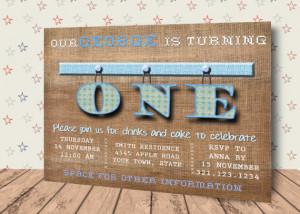 boy invitation, child birthday, male birthday, digital first birthday ...