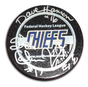 HANSON Brothers Slap Shot *Signed hockey puck*