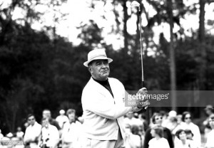 Golf. 1975. A picture of Gene Sarazen of the USA playing a shot.