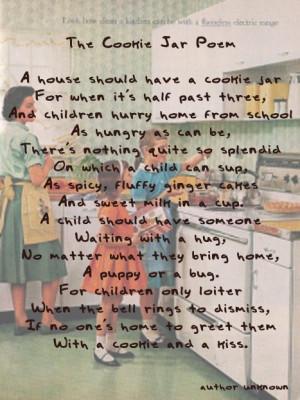 The Cookie Jar Poem - vintage kitchen Should be something we parents ...