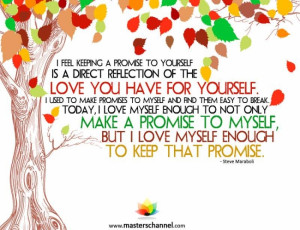 Steve Maraboli - I feel keeping a promise to yourself is a direct ...