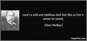 Love's a wild and rebellious bird that flies so free it cannot be ...