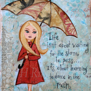 Inspirational Print,Rainy Day Quote,Mixed Media Giclee Fine Art Print ...