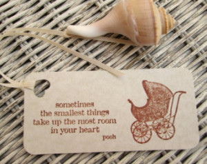Baby Shower Tags Vintage Wicker Carriage and Pooh Quote (10)