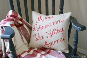 Funny Christmas Movie Quote Pillow {Plus the Easiest Pillow You'll ...