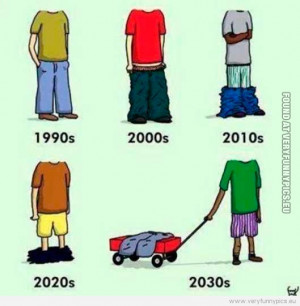 Funny Picture - The evolution of the saggy pants
