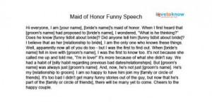 Writing a maid of honour speech