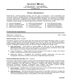RetailManager Resume Sample (Example)