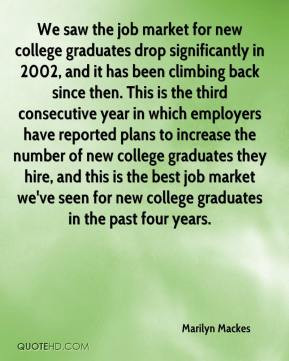 Marilyn Mackes - We saw the job market for new college graduates drop ...