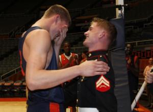 ... Leonard getting surprised by his military brother coming home early
