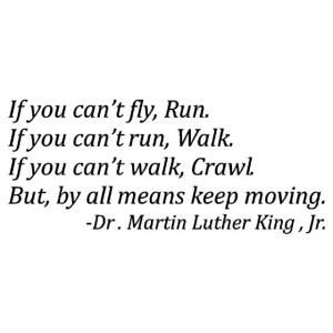 If you can't fly, Run. If you can't run, Walk. If you can't walk ...