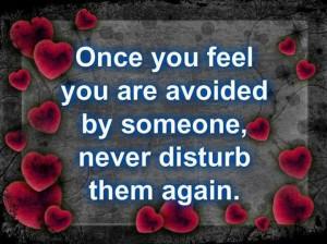 avoidance = never disturb again