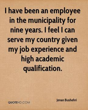 ... my country given my job experience and high academic qualification