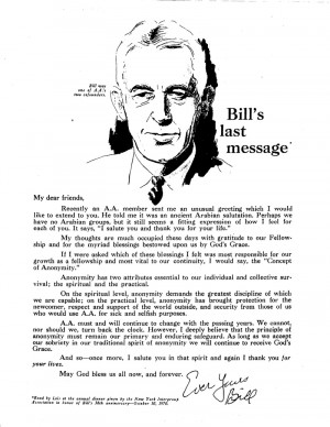 Alcoholics Anonymous (AA): A message from Bill W (and God?)
