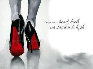 CHRISTIAN LOUBOUTIN Black Shoes ART PRINT, Fashion Quote 10 x 8 ...