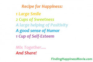 Recipe for Happiness -- Yum! Share with your loved ones. #Finding ...