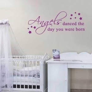 Angels danced quote stars nursery wall sticker decal baby room - Wall ...