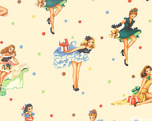 50s pin-up party girls Café CURTAINS ON SALE