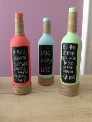 Reciclar botellas pintándolas con pintura pizarra Reciclar botellas ...