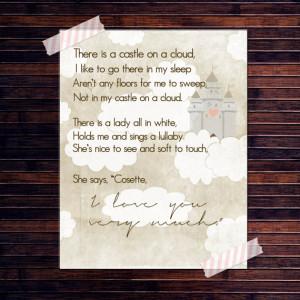 Les Miserables quote Castle on a cloud sang by Cosette poster print ...