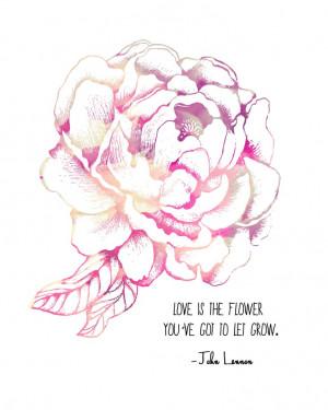 John Lennon Quote, Pink Peony Flower- 8x10 Metallic Print. $20.00, via ...