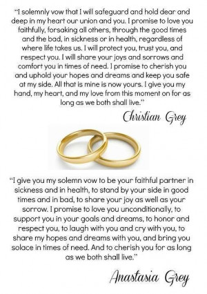 ... Shades, Books Quotes, Ana Vows, Christian Vows, Movie Wedding Vows