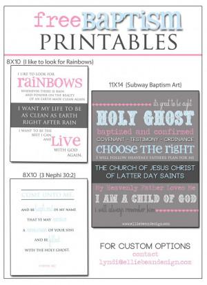 LDS Baptism Free Printables