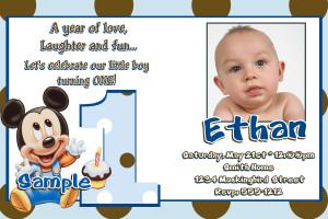 JB25 Baby Mickey Mouse 1st Birthday Invitations