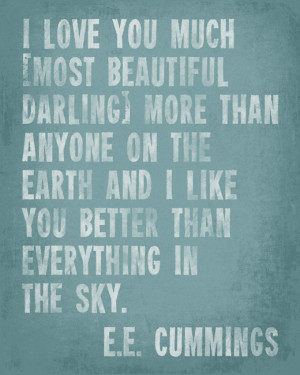 Love You Much - E.E. Cummings Quote - inspirational art print